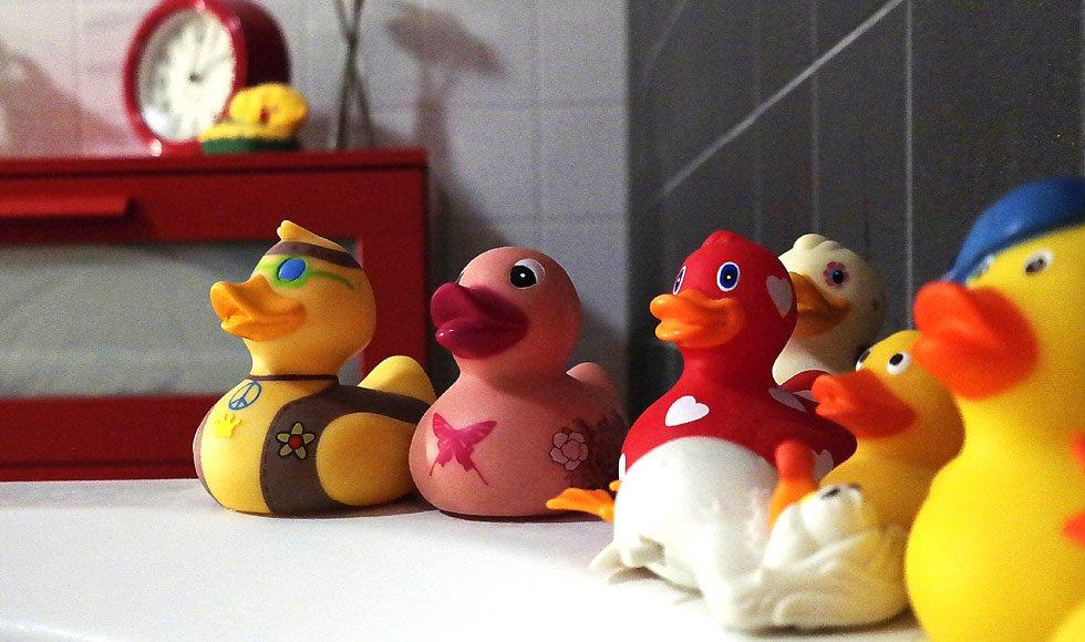 rubber duckies, clean bathroom