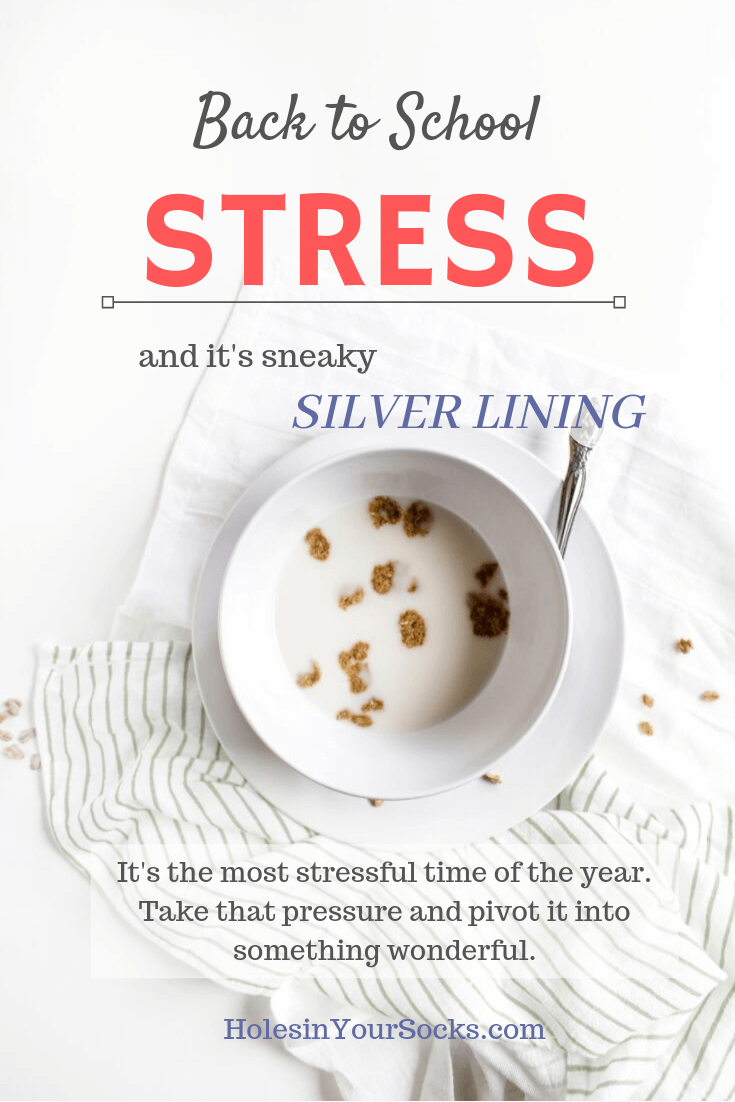 Cold bowl of cereal and milk, messy table, Back to School Stress and the Silver Lining