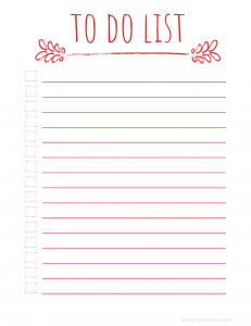 free printable daily to do list rustic red
