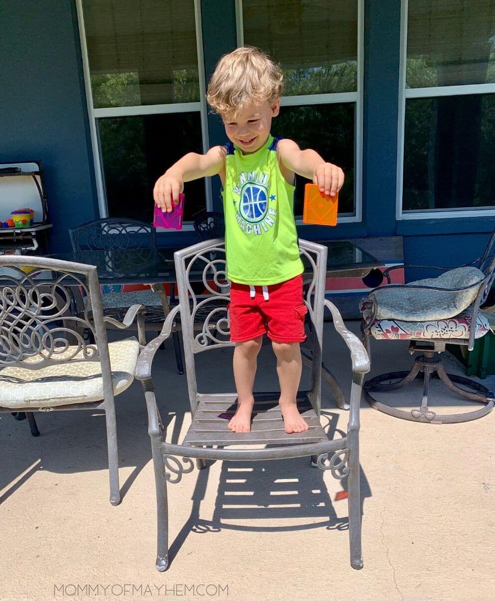 preschooler doing gravity science experiment